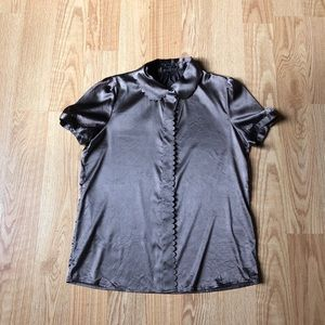 Theory silk blouse brown buttoned down sz:M work